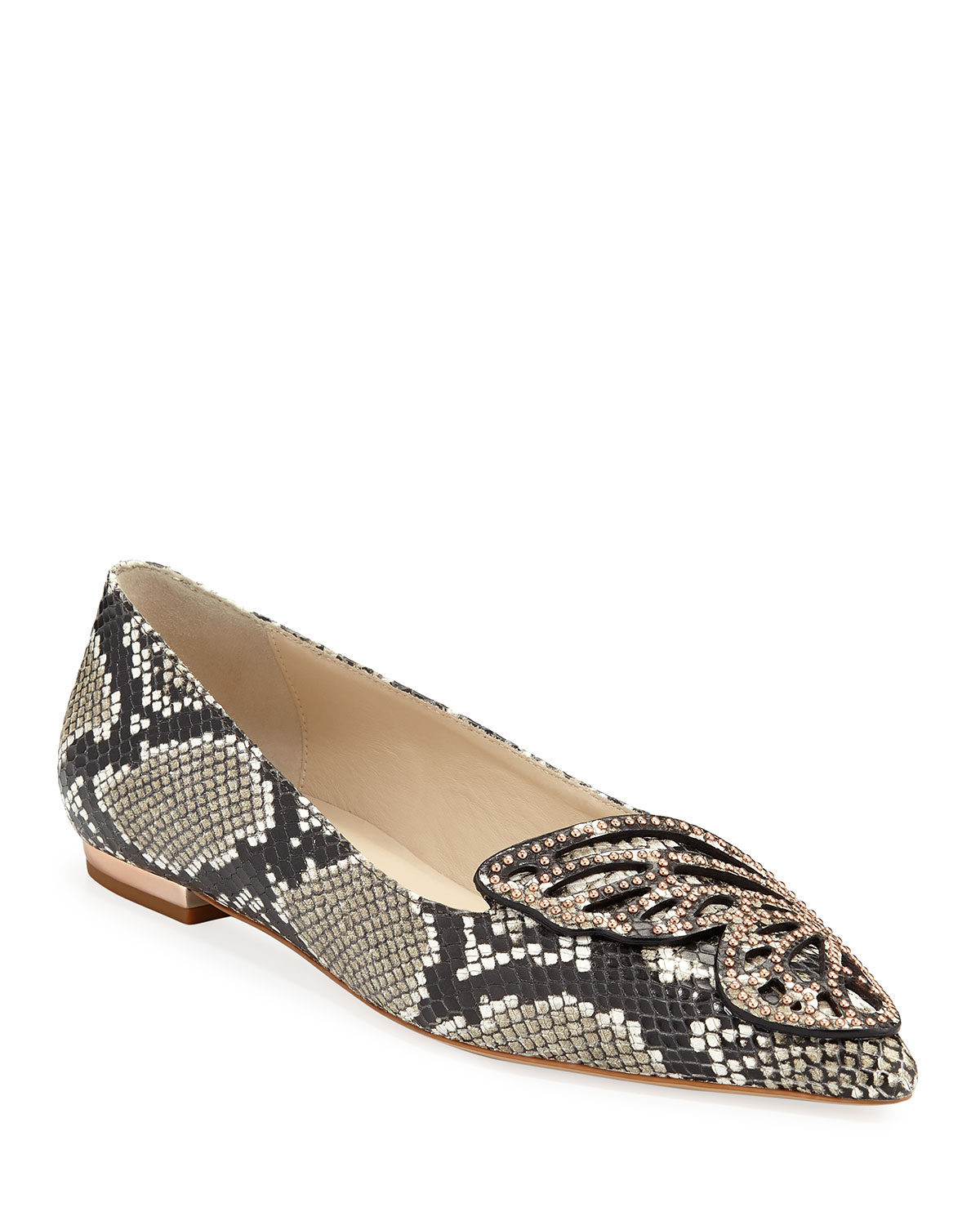 Snake-Embossed Leather Butterfly Flats