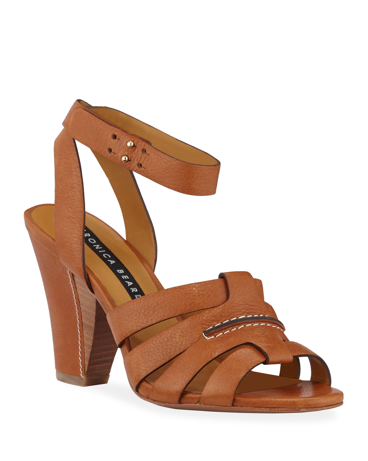 Charley Leather Ankle-Wrap Sandals