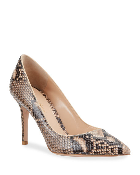 Gianvito Rossi Python Pointed-Toe Pumps