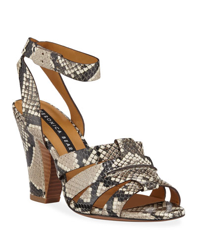 Charley Snake-Print Ankle-Wrap Sandals