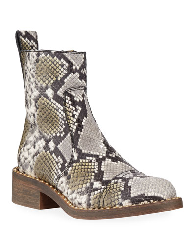Empress Studded Snake-Print Booties