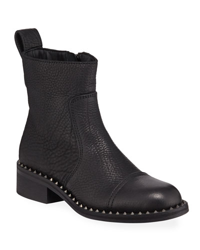 Empress Clous Studded-Trim Leather Booties