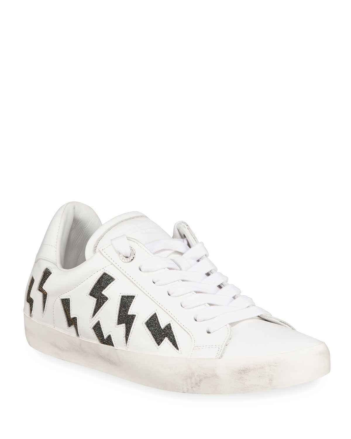 Flash Low-Top Leather Lightning Sneakers
