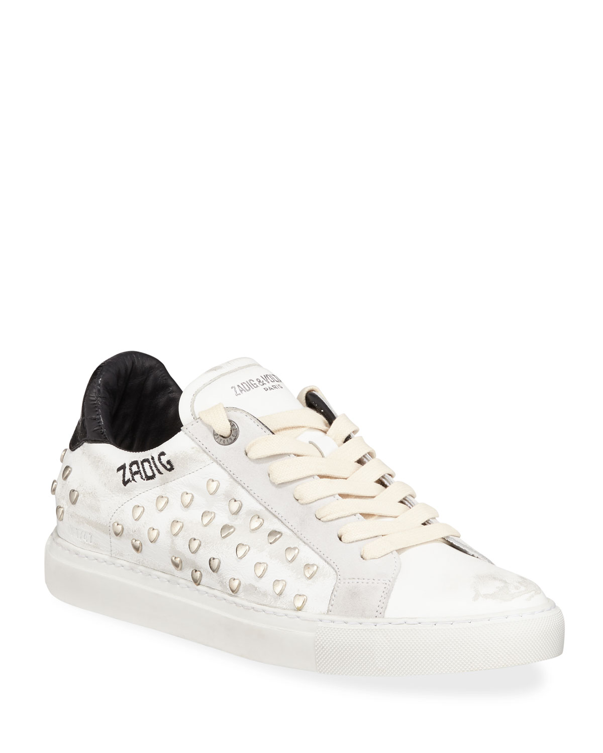 ZV1747 Distressed Heart-Studded Leather Sneaker