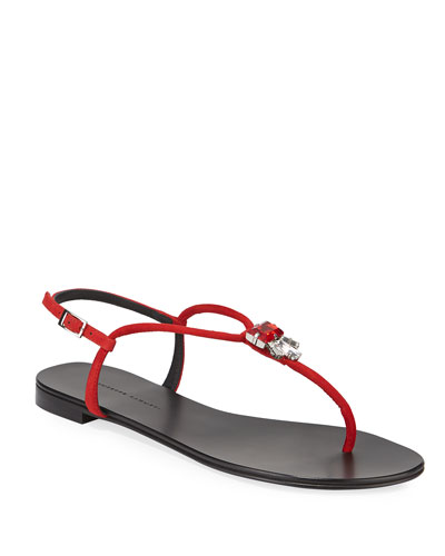 Jeweled Suede Flat Thong Sandals
