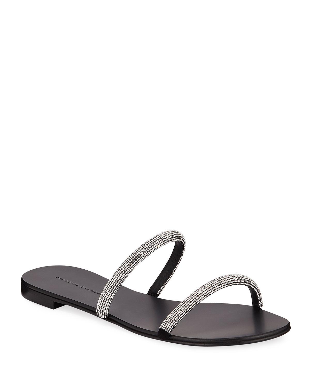 Crystal-Strap Leather Slide Sandals
