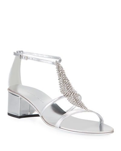 Metallic Crystal Block-Heel Sandals