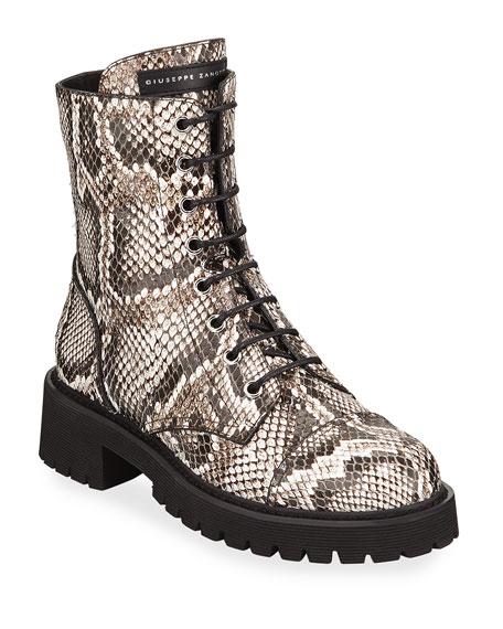 Giuseppe Zanotti Python-Embossed Leather Combat Boots