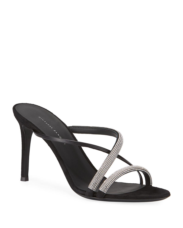 Strappy Embellished Crisscross Slide Sandals