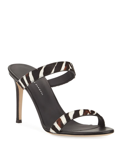 Zebra Calf Hair Slide Sandals