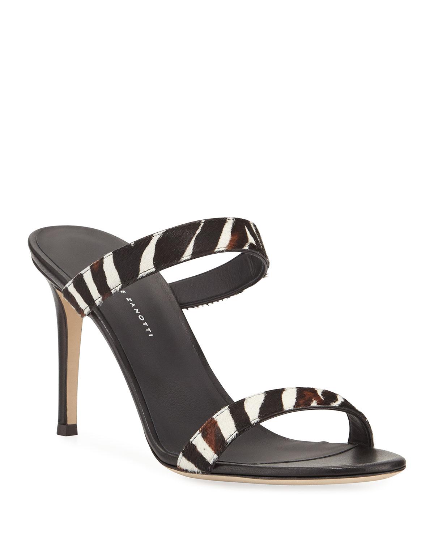 Zebra Calf Hair Slide Sandals