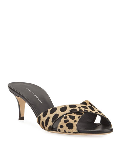 Leopard Crisscross Calf Hair Sandals