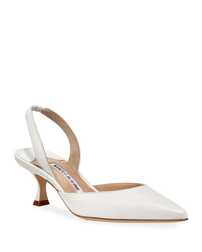 Carolyne Low-Heel Leather Slingback Pumps