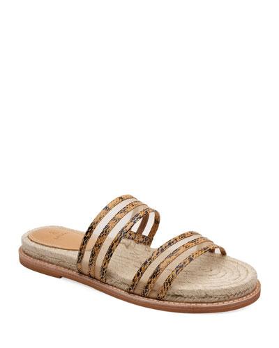 Rory Snake-Print and Mesh Slide Sandals
