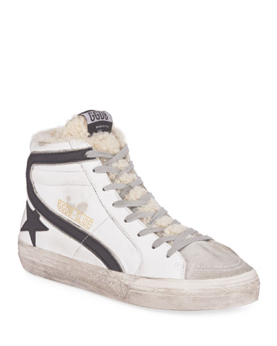 Slide Shearling-Lined High-Top Sneakers