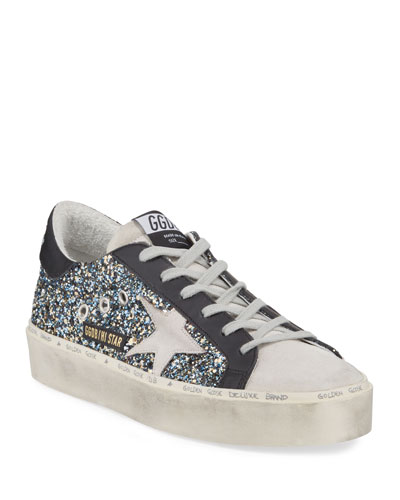 Hi Star Glittered Leather Platform Sneakers