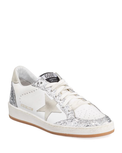 Ball Star Glittered Lace-Up Leather Sneakers