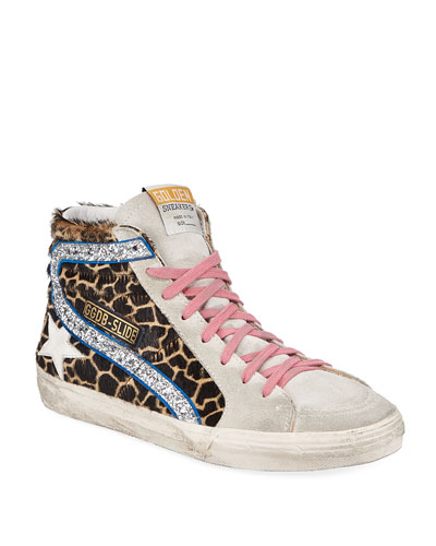 Slide Giraffe-Print Glittered High-Top Sneakers