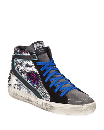 Slide Sequined Leopard High-Top Sneakers