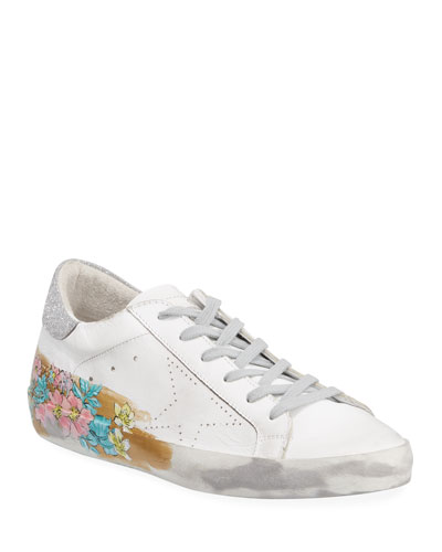 May Sparkle Floral Painted Low-Top Sneakers