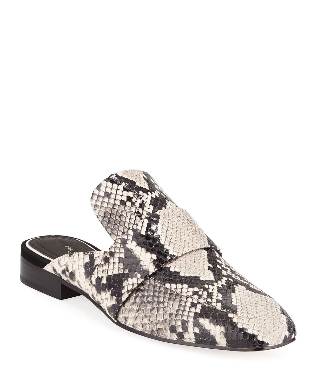 Aslen Snake-Embossed Loafer Mules