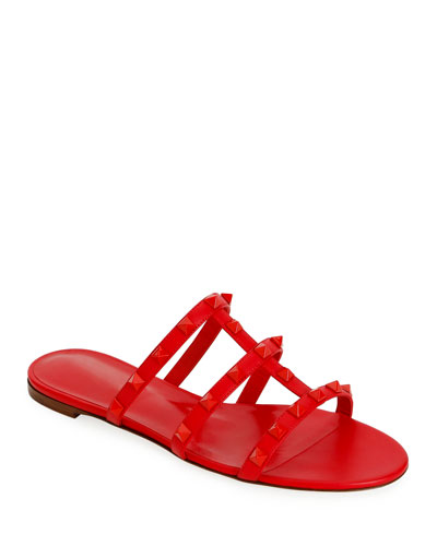 Tonal Rockstud Flat Leather Slide Sandals
