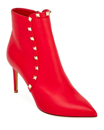 Smooth Leather Rockstud Booties