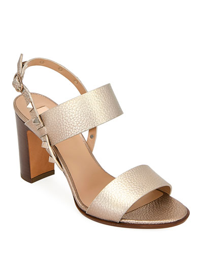Rockstud Metallic Leather Double-Band Sandals