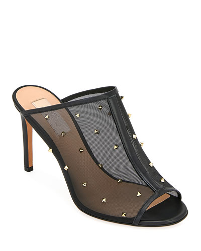 Rockstud Shining Mesh Slide Sandals
