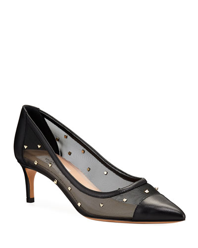 Rockstud Shining Mesh Pumps