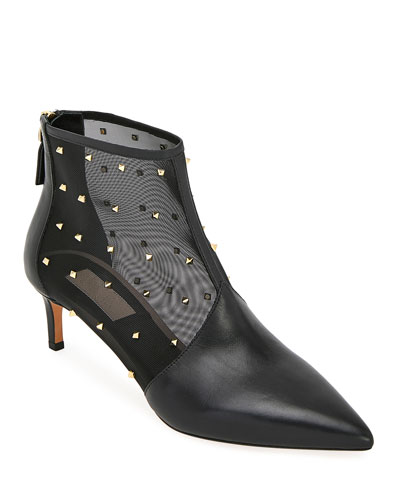Shining Mesh Zip Booties with Mini Rockstuds