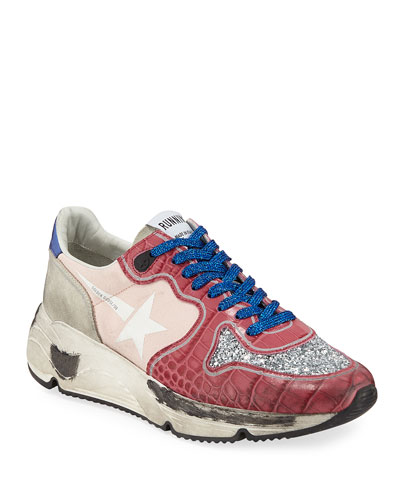 Limited Edition Runner Glittered Croc-Print Trainer Sneakers