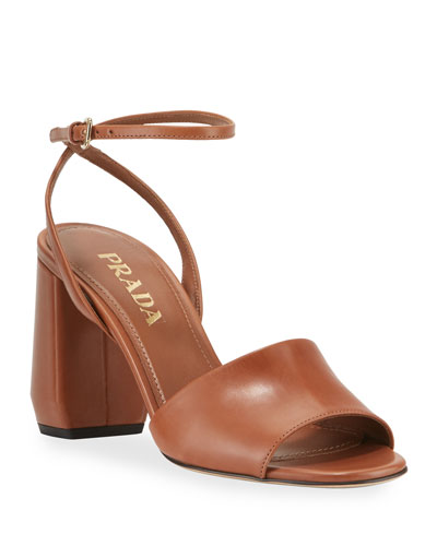 Smooth Leather Chunky-Heel Sandals