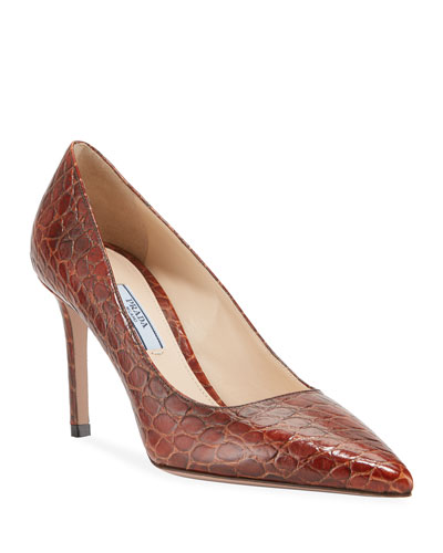 Crocodile-Print Pointed Pumps