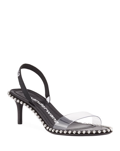 Nova Studded Clear-Strap Slingback Sandals