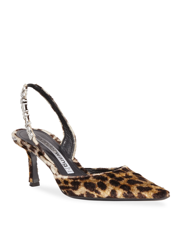 Grace Leopard Logo-Slingback Pumps