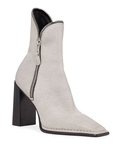 Lane Block-Heel Leather Zip Booties, White