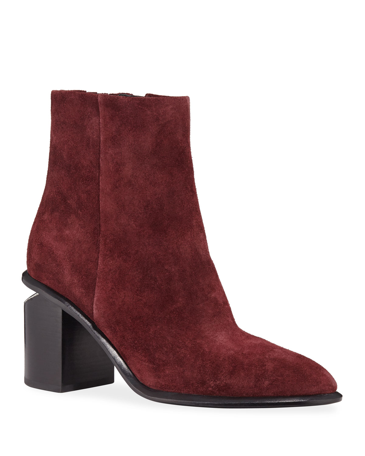 Anna Suede Block-Heel Ankle Booties