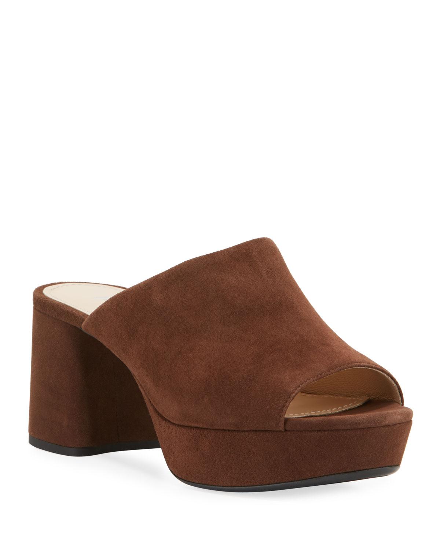 Prada Suede Platform Slide Sandals In Brown