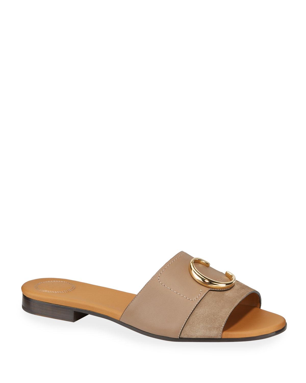 C Flat Leather Slide Sandals