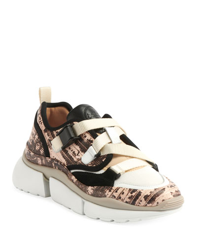 Sonnie Embossed Leather Buckle Sneakers