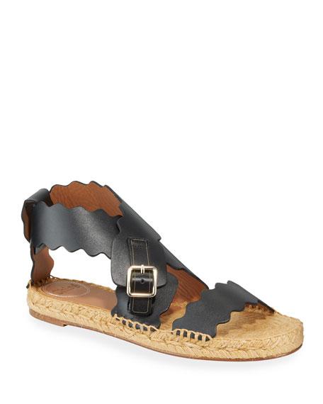 Chloe Lauren Scalloped Flat Espadrille Sandals