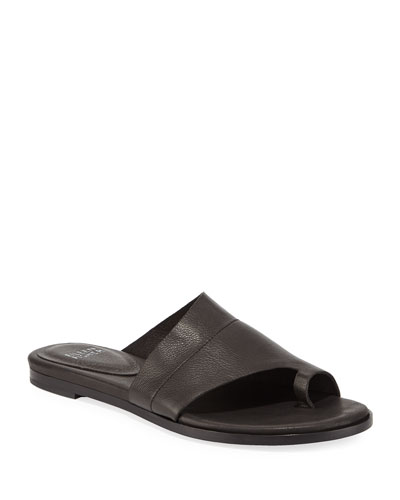 Ty Washed Leather Flat Sandals