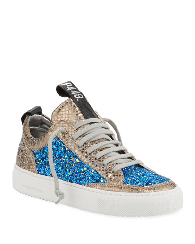 Soho Glittered Metallic Leather Sneakers