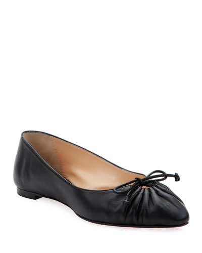 Merimee Red Sole Ballet Flats, Black