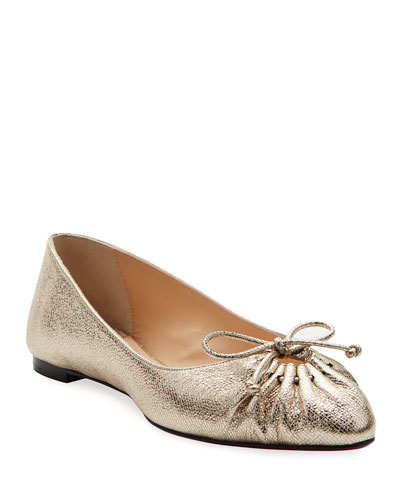 Merimee Red Sole Ballet Flats, Gold