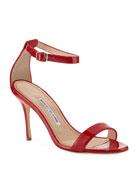 Manolo Blahnik Chaos Patent Ankle-Strap Sandals