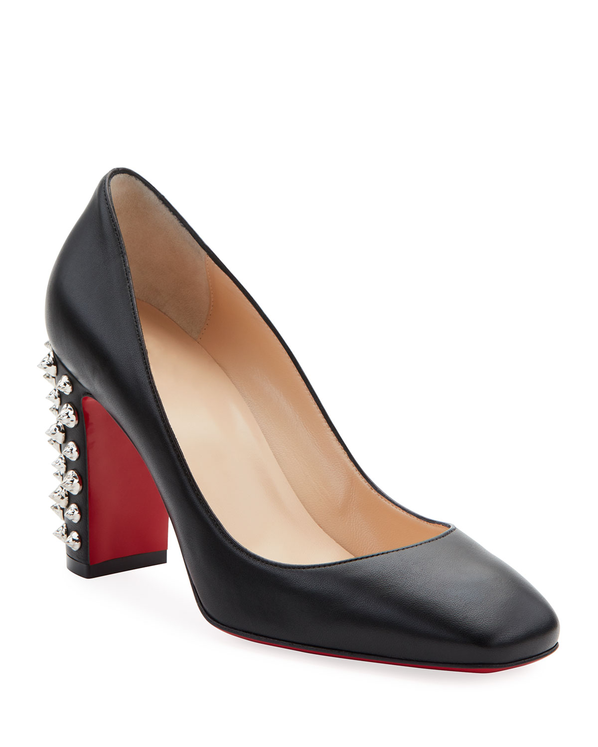 Donna Spikes Red Sole Pumps, Black/Silver