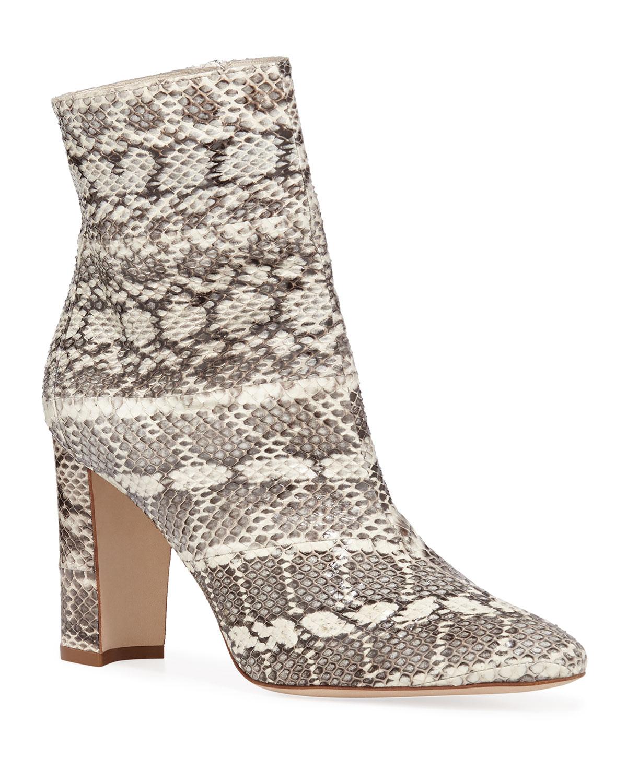 Rosie Block-Heel Snakeskin Booties