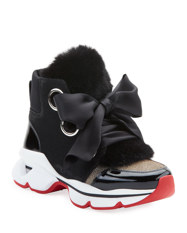 Marellaski Faux-Fur Red Sole Sneakers